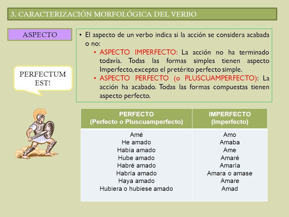 3. CARACTERIZACIÓN MORFOLÓGICA DEL VERBO ASPECTO El aspecto de un verbo indica si la acción se considera acabada o no: ASPECTO IMPERFECTO: La acción n