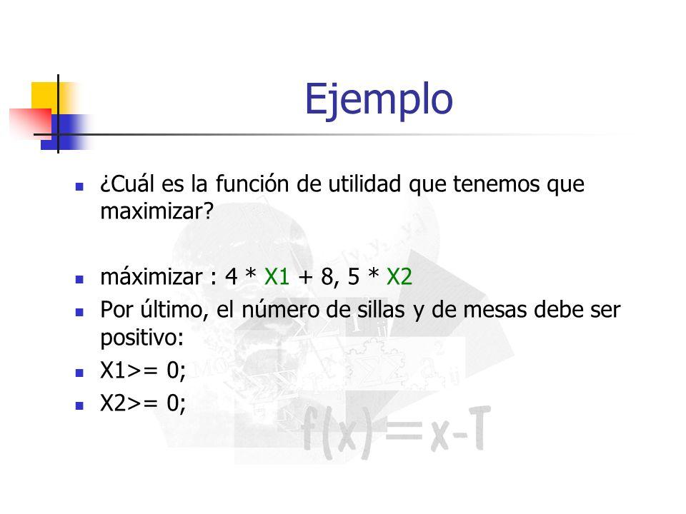 Ejemplo ¿Cuál es la función de utilidad que tenemos que maximizar? máximizar : 4 * X1 + 8, 5 * X2 Por último, el número de sillas y de mesas debe ser