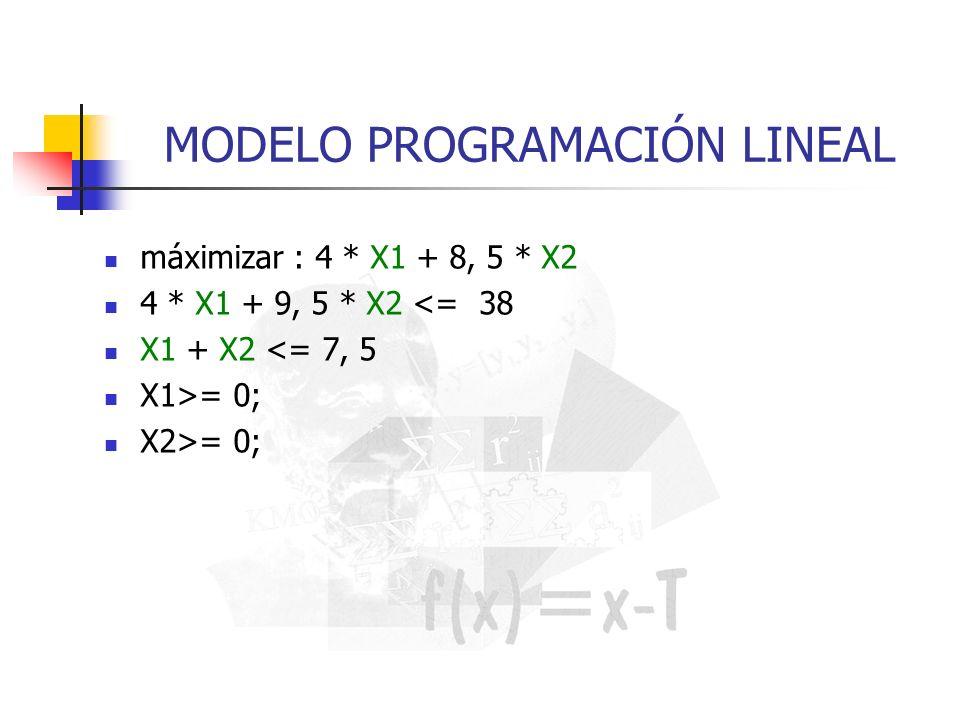 MODELO PROGRAMACIÓN LINEAL máximizar : 4 * X1 + 8, 5 * X2 4 * X1 + 9, 5 * X2 <= 38 X1 + X2 <= 7, 5 X1>= 0; X2>= 0;