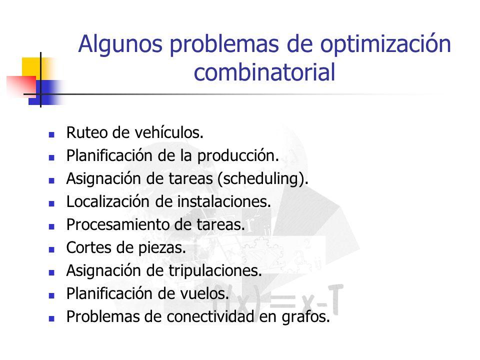 Algunos problemas de optimización combinatorial Ruteo de vehículos. Planificación de la producción. Asignación de tareas (scheduling). Localización de