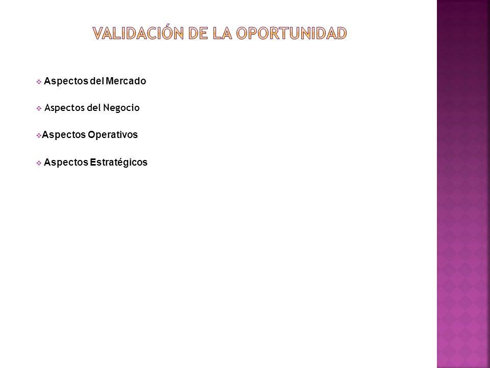 Aspectos del Negocio Aspectos del Mercado Aspectos Operativos Aspectos Estratégicos