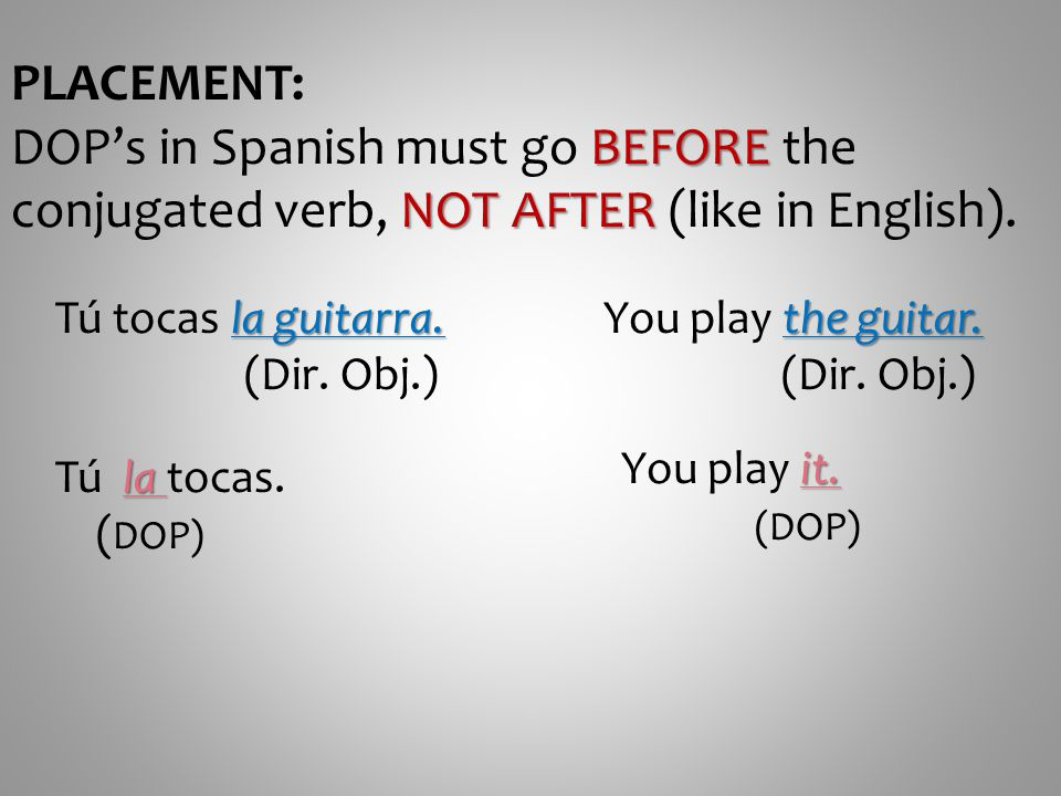 PLACEMENT: BEFORE NOT AFTER DOPs in Spanish must go BEFORE the conjugated verb, NOT AFTER (like in English). la guitarra. Tú tocas la guitarra. (Dir.