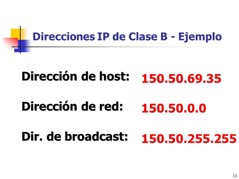 10 Direcciones IP de Clase B - Ejemplo 150.50.69.35 Dirección de host: Dirección de red: Dir. de broadcast: 150.50.0.0 150.50.255.255