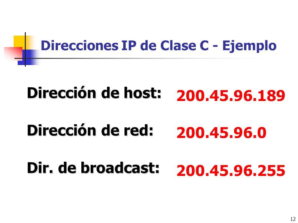 12 Direcciones IP de Clase C - Ejemplo 200.45.96.189 Dirección de host: Dirección de red: Dir. de broadcast: 200.45.96.0 200.45.96.255