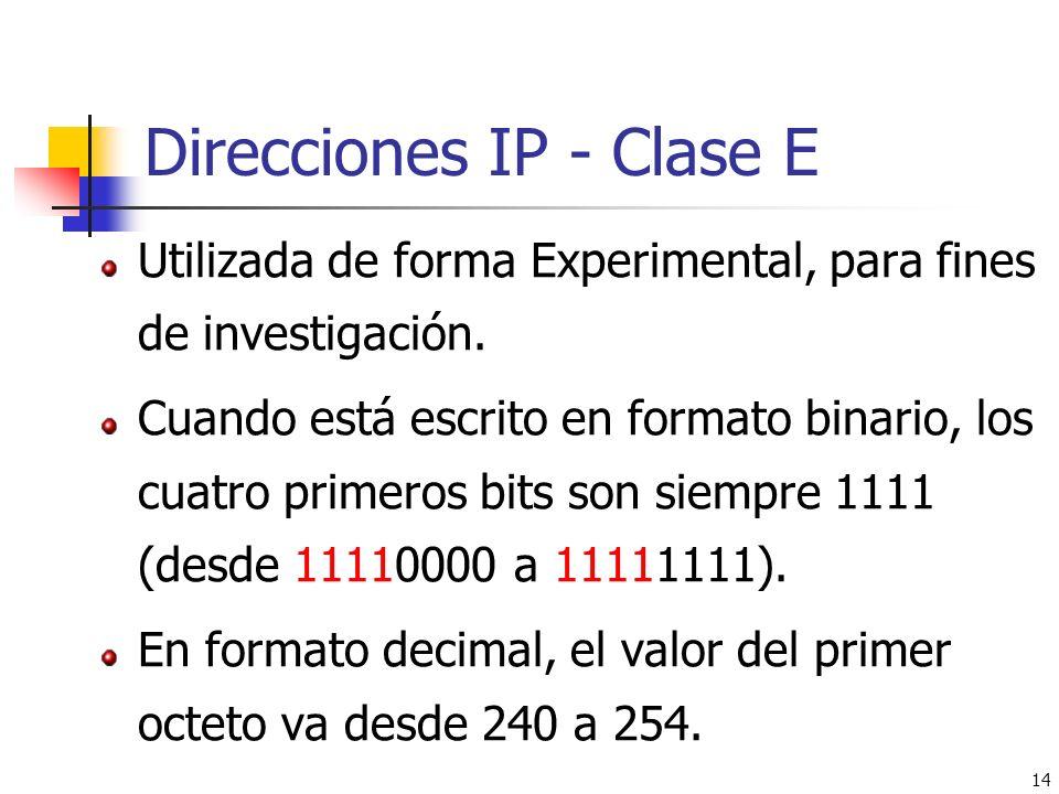 14 Direcciones IP - Clase E Utilizada de forma Experimental, para fines de investigación. Cuando está escrito en formato binario, los cuatro primeros