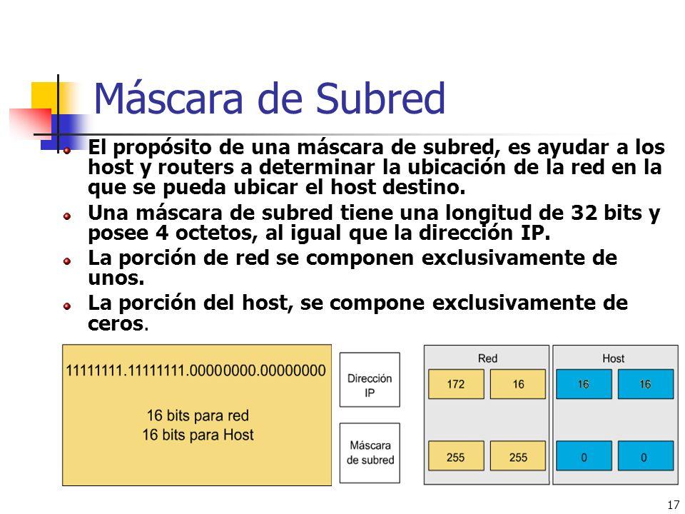 17 Máscara de Subred El propósito de una máscara de subred, es ayudar a los host y routers a determinar la ubicación de la red en la que se pueda ubic