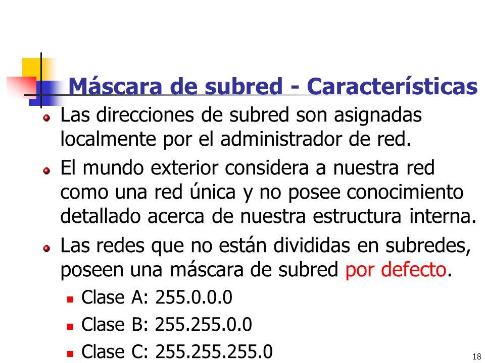 18 Máscara de subred - Características Las direcciones de subred son asignadas localmente por el administrador de red. El mundo exterior considera a n