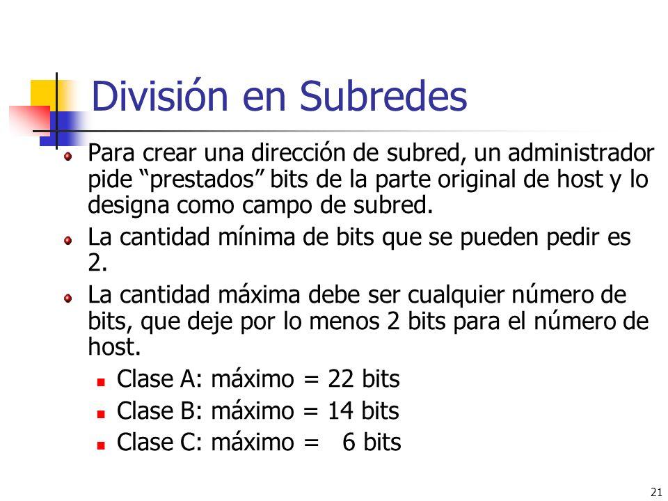 21 División en Subredes Para crear una dirección de subred, un administrador pide prestados bits de la parte original de host y lo designa como campo