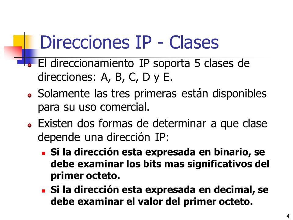 4 Direcciones IP - Clases El direccionamiento IP soporta 5 clases de direcciones: A, B, C, D y E. Solamente las tres primeras están disponibles para s