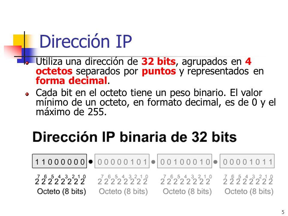 5 Dirección IP Utiliza una dirección de 32 bits, agrupados en 4 octetos separados por puntos y representados en forma decimal. Cada bit en el octeto t