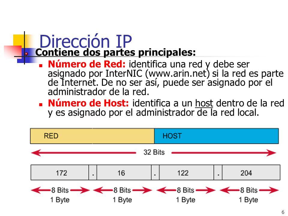 6 Dirección IP Contiene dos partes principales: Número de Red: identifica una red y debe ser asignado por InterNIC (www.arin.net) si la red es parte d