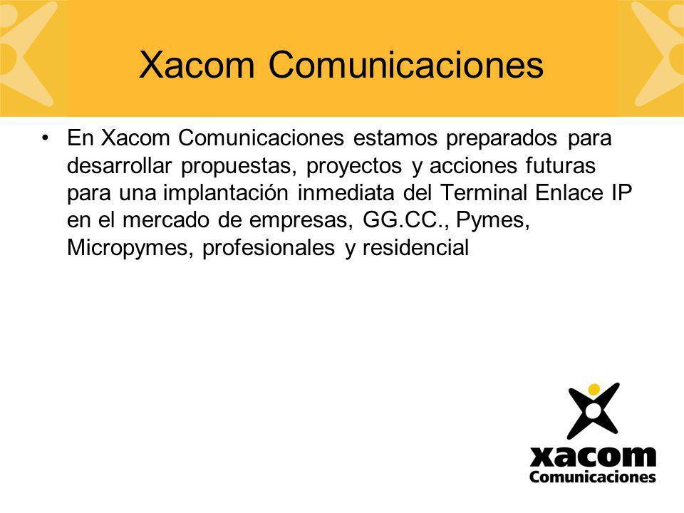Xacom Comunicaciones En Xacom Comunicaciones estamos preparados para desarrollar propuestas, proyectos y acciones futuras para una implantación inmedi