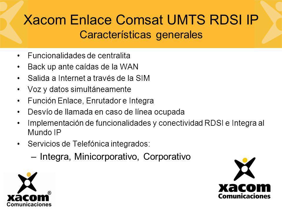 Xacom Enlace Comsat UMTS RDSI IP Características generales Funcionalidades de centralita Back up ante caídas de la WAN Salida a Internet a través de l