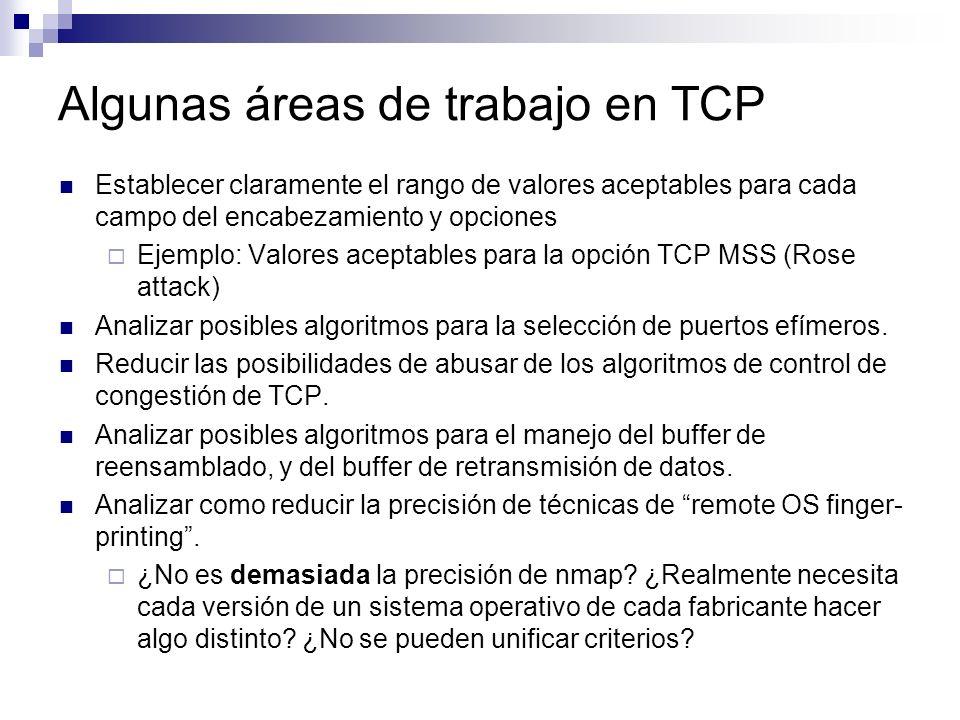 Algunas áreas de trabajo en TCP Establecer claramente el rango de valores aceptables para cada campo del encabezamiento y opciones Ejemplo: Valores aceptables para la opción TCP MSS (Rose attack) Analizar posibles algoritmos para la selección de puertos efímeros.