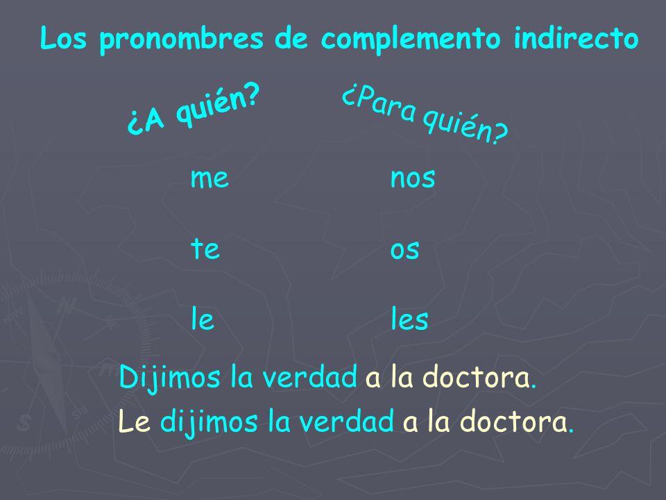 Los pronombres de complemento indirecto ¿A quién.¿Para quién.