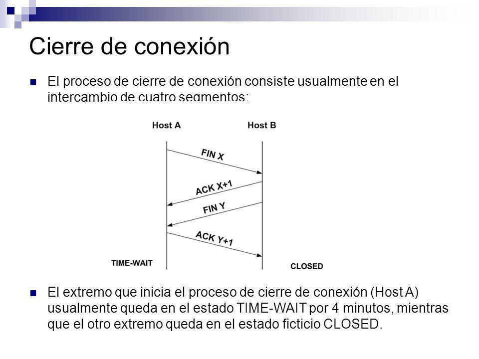 Cierre de conexión El proceso de cierre de conexión consiste usualmente en el intercambio de cuatro segmentos: El extremo que inicia el proceso de cie