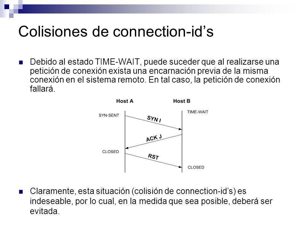 Colisiones de connection-ids Debido al estado TIME-WAIT, puede suceder que al realizarse una petición de conexión exista una encarnación previa de la