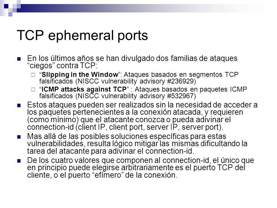 En los últimos años se han divulgado dos familias de ataques ciegos contra TCP: Slipping in the Window: Ataques basados en segmentos TCP falsificados