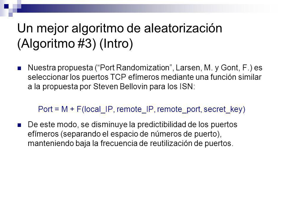 Un mejor algoritmo de aleatorización (Algoritmo #3) (Intro) Nuestra propuesta (Port Randomization, Larsen, M. y Gont, F.) es seleccionar los puertos T