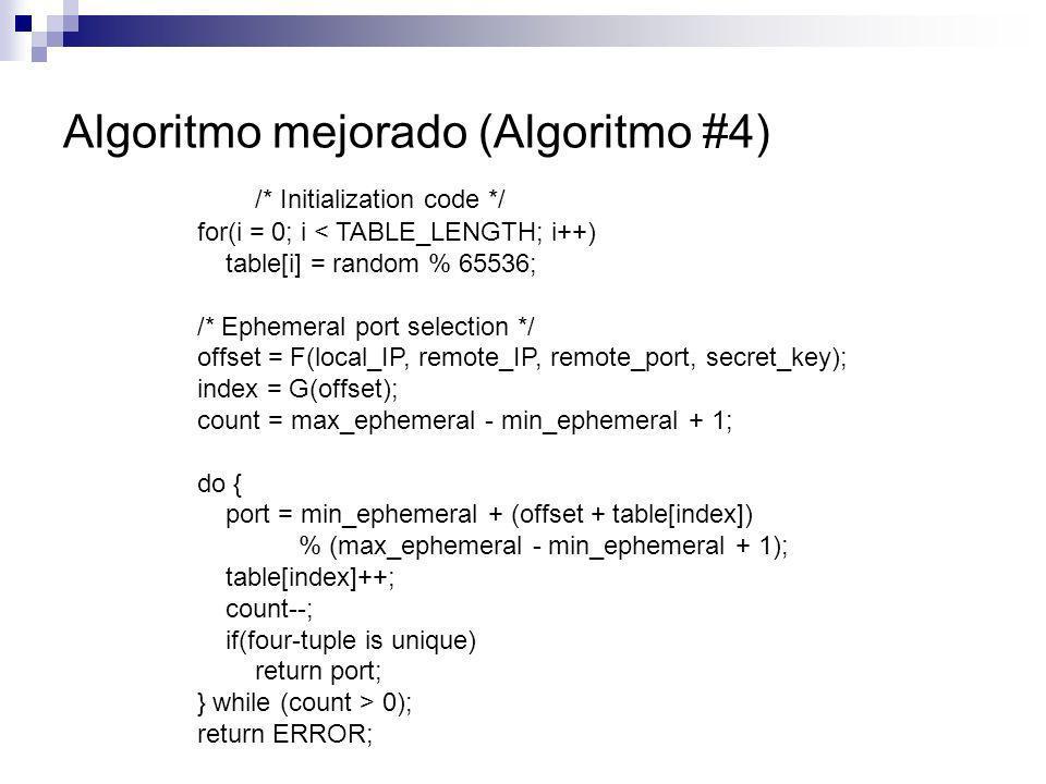 Algoritmo mejorado (Algoritmo #4) /* Initialization code */ for(i = 0; i < TABLE_LENGTH; i++) table[i] = random % 65536; /* Ephemeral port selection *
