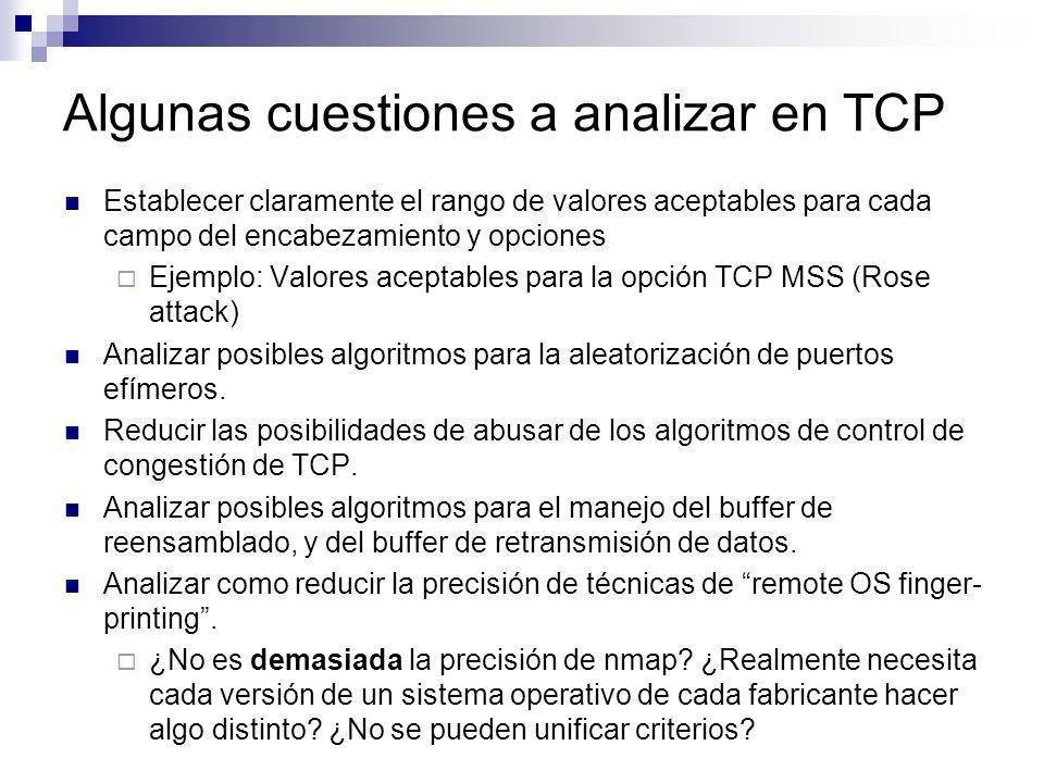 Características del Algoritmo #1 Es el implementado en la gran mayoría de las pilas TCP/IP Es simple Posee una frecuencia de reuso de puertos aceptable (aunque mayor que la necesaria) Produce una secuencia de puertos efímeros trivialmente predecible.