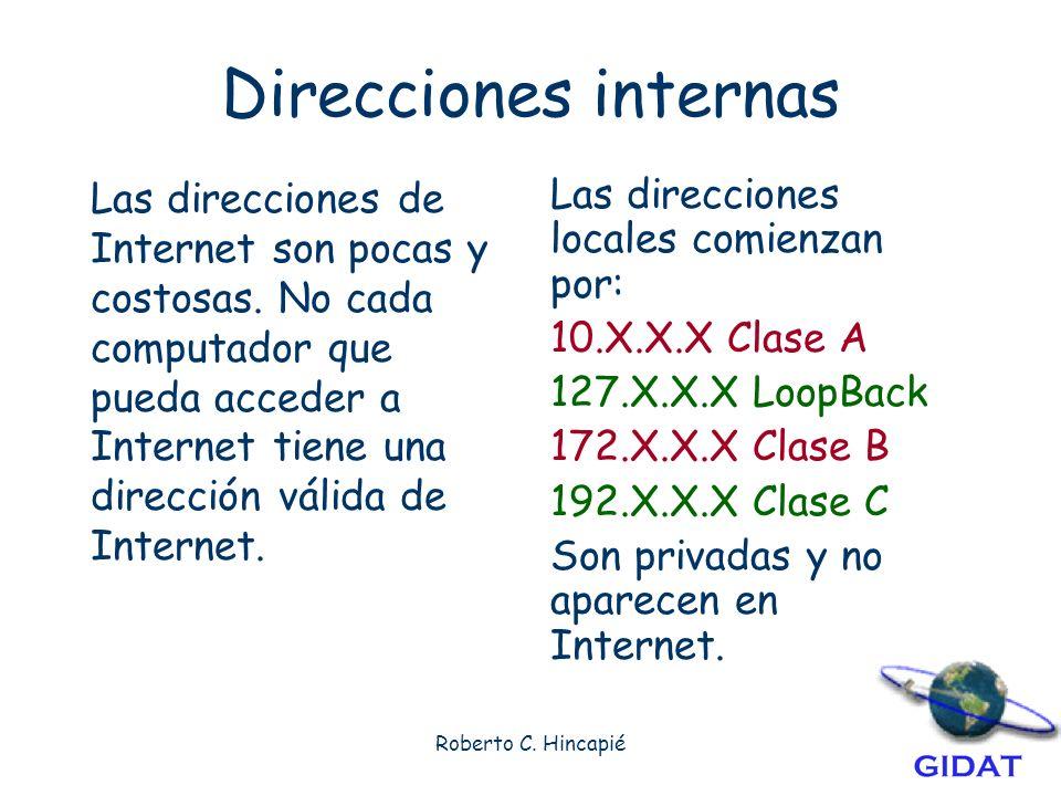 Roberto C.Hincapié Direcciones internas Las direcciones de Internet son pocas y costosas.