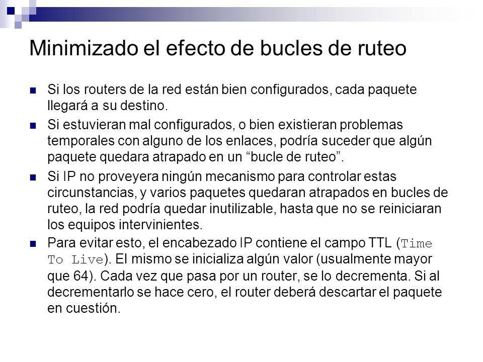 Minimizado el efecto de bucles de ruteo Si los routers de la red están bien configurados, cada paquete llegará a su destino. Si estuvieran mal configu