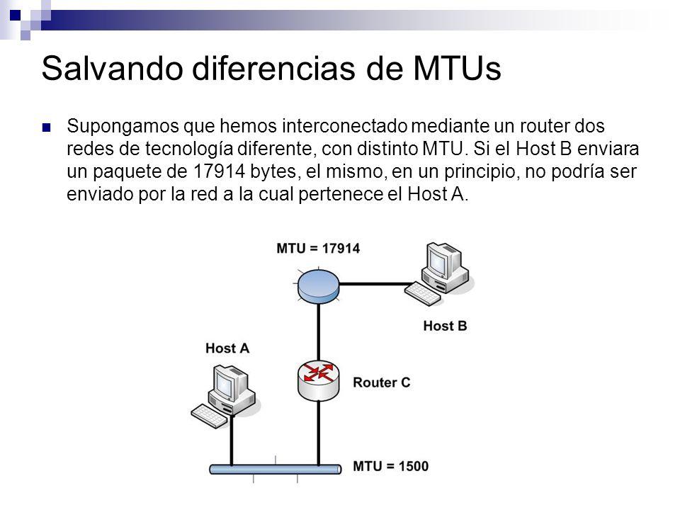Salvando diferencias de MTUs Supongamos que hemos interconectado mediante un router dos redes de tecnología diferente, con distinto MTU. Si el Host B