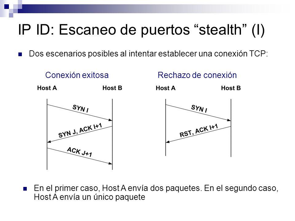 IP ID: Escaneo de puertos stealth (I) Dos escenarios posibles al intentar establecer una conexión TCP: Conexión exitosa Rechazo de conexión En el primer caso, Host A envía dos paquetes.