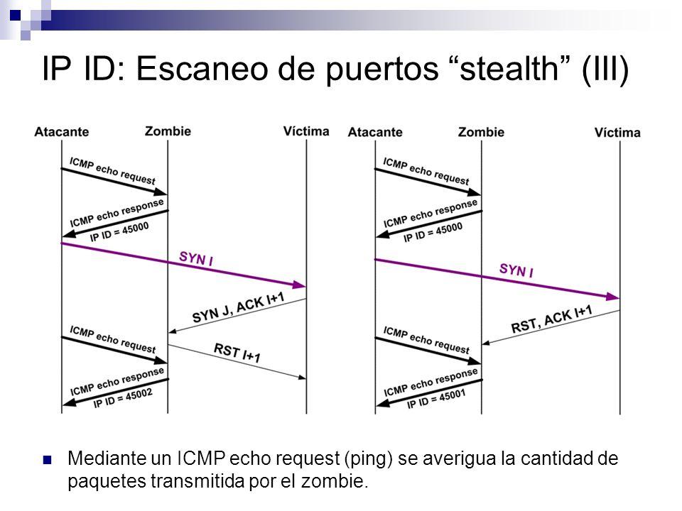 IP ID: Escaneo de puertos stealth (III) Mediante un ICMP echo request (ping) se averigua la cantidad de paquetes transmitida por el zombie.