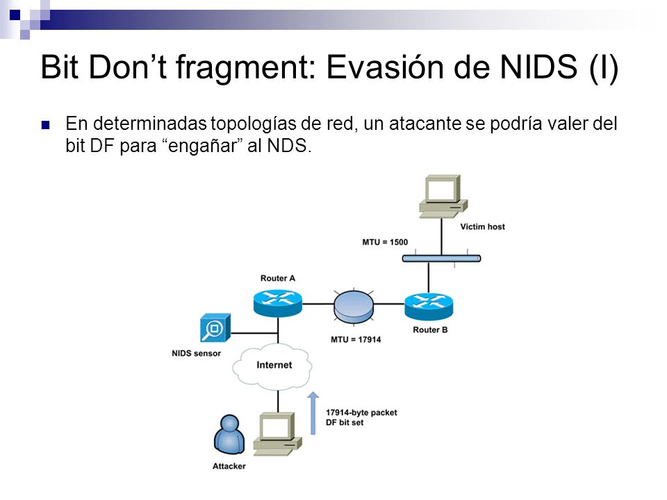 Bit Dont fragment: Evasión de NIDS (I) En determinadas topologías de red, un atacante se podría valer del bit DF para engañar al NDS.