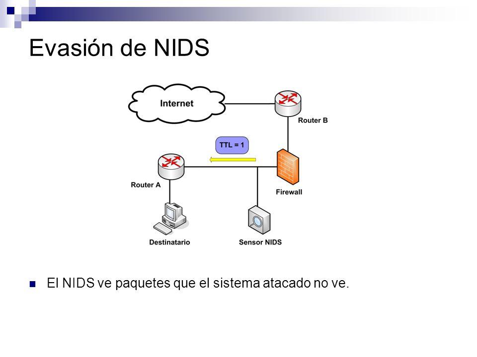 Evasión de NIDS El NIDS ve paquetes que el sistema atacado no ve.