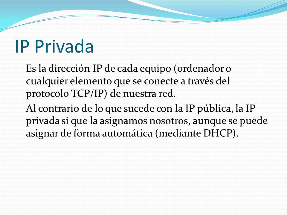 IP Privada Es la dirección IP de cada equipo (ordenador o cualquier elemento que se conecte a través del protocolo TCP/IP) de nuestra red. Al contrari