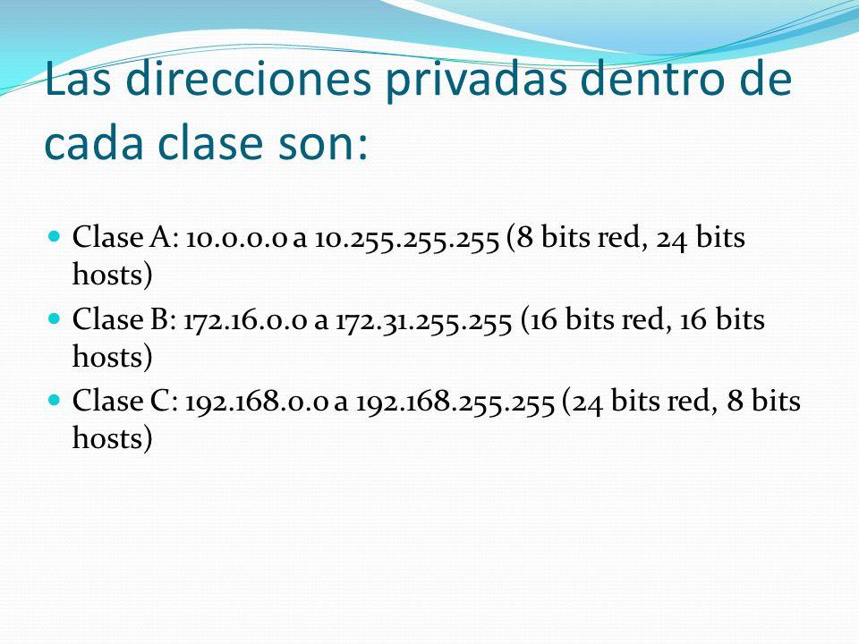 Las direcciones privadas dentro de cada clase son: Clase A: 10.0.0.0 a 10.255.255.255 (8 bits red, 24 bits hosts) Clase B: 172.16.0.0 a 172.31.255.255