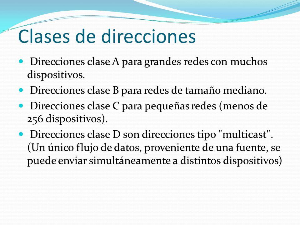 Clases de direcciones Direcciones clase A para grandes redes con muchos dispositivos. Direcciones clase B para redes de tamaño mediano. Direcciones cl