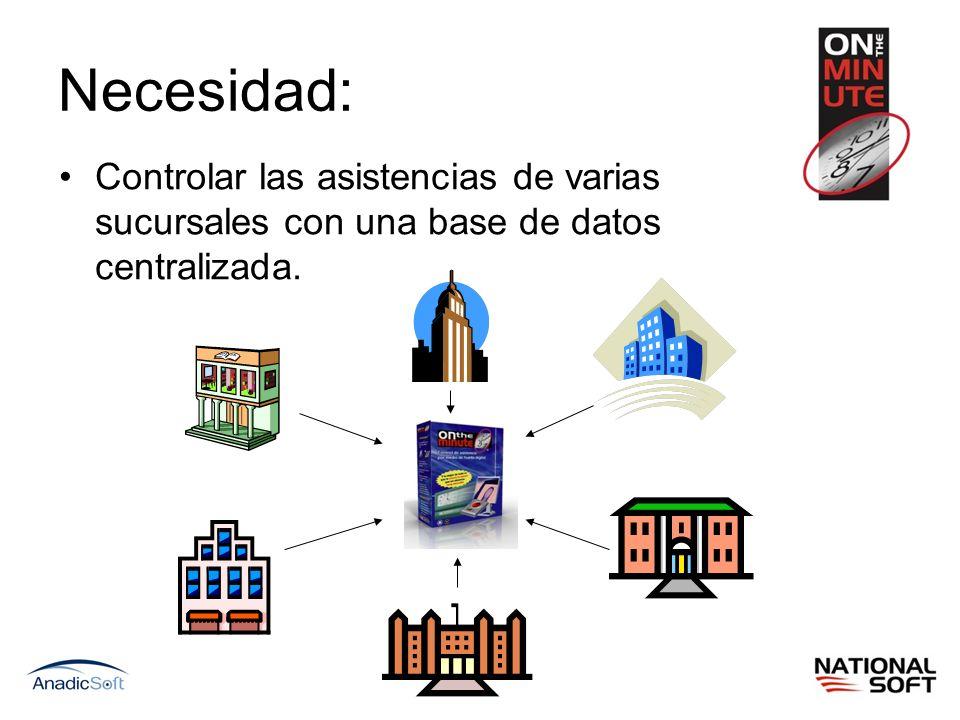 Necesidad: Controlar las asistencias de varias sucursales con una base de datos centralizada.