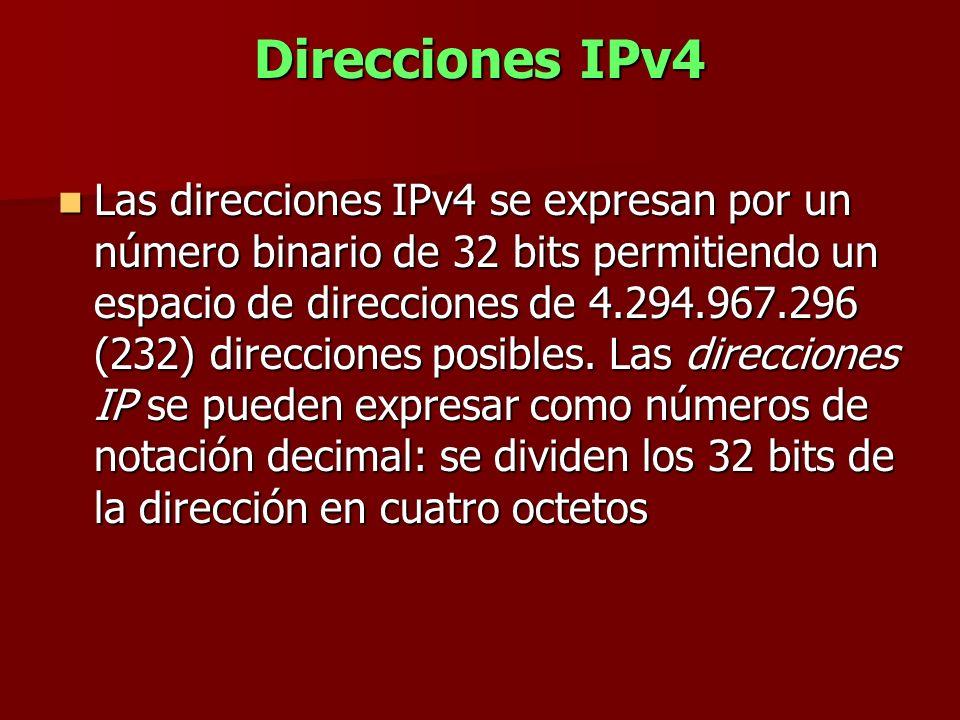 Direcciones IPv4 Las direcciones IPv4 se expresan por un número binario de 32 bits permitiendo un espacio de direcciones de 4.294.967.296 (232) direcc