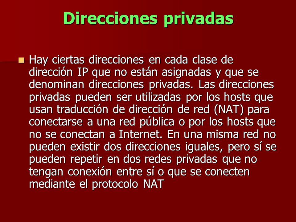Direcciones privadas Hay ciertas direcciones en cada clase de dirección IP que no están asignadas y que se denominan direcciones privadas. Las direcci