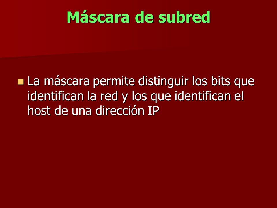 Máscara de subred La máscara permite distinguir los bits que identifican la red y los que identifican el host de una dirección IP La máscara permite d