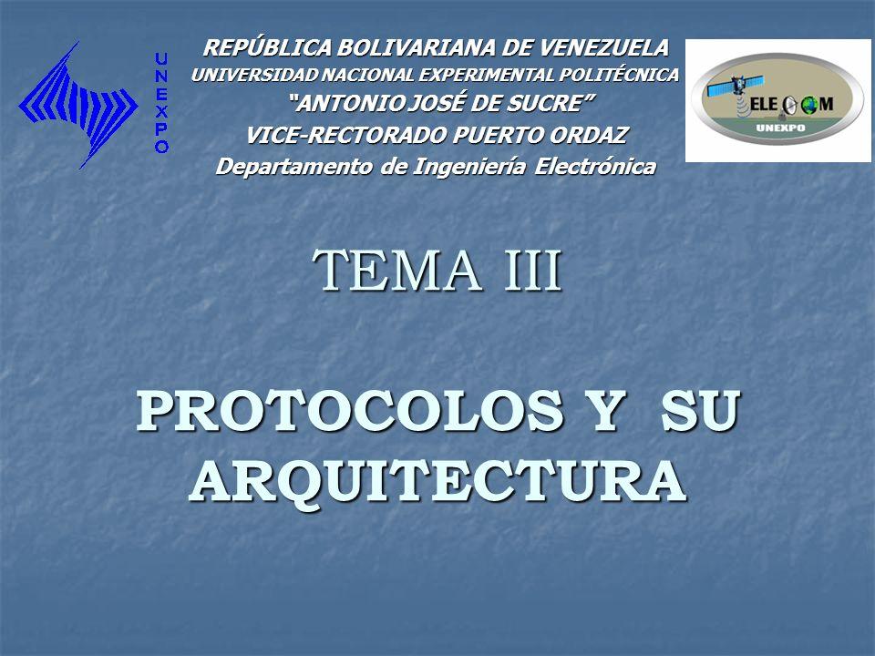 TEMA III PROTOCOLOS Y SU ARQUITECTURA REPÚBLICA BOLIVARIANA DE VENEZUELA UNIVERSIDAD NACIONAL EXPERIMENTAL POLITÉCNICA ANTONIO JOSÉ DE SUCRE ANTONIO J