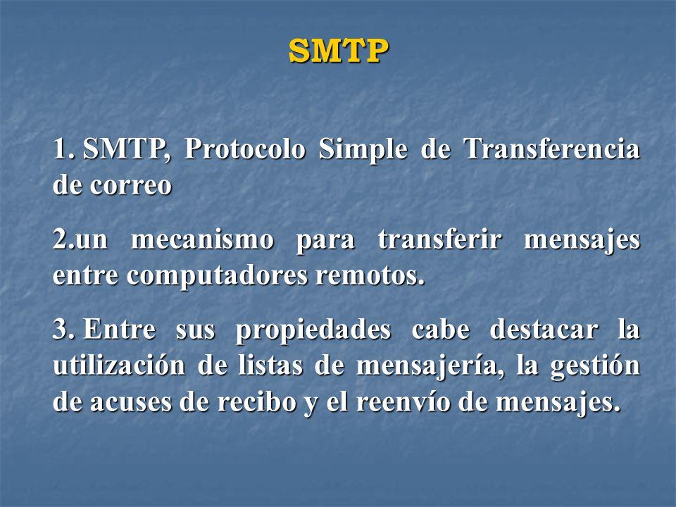 SMTP 1. SMTP, Protocolo Simple de Transferencia de correo 2.un mecanismo para transferir mensajes entre computadores remotos. 3. Entre sus propiedades