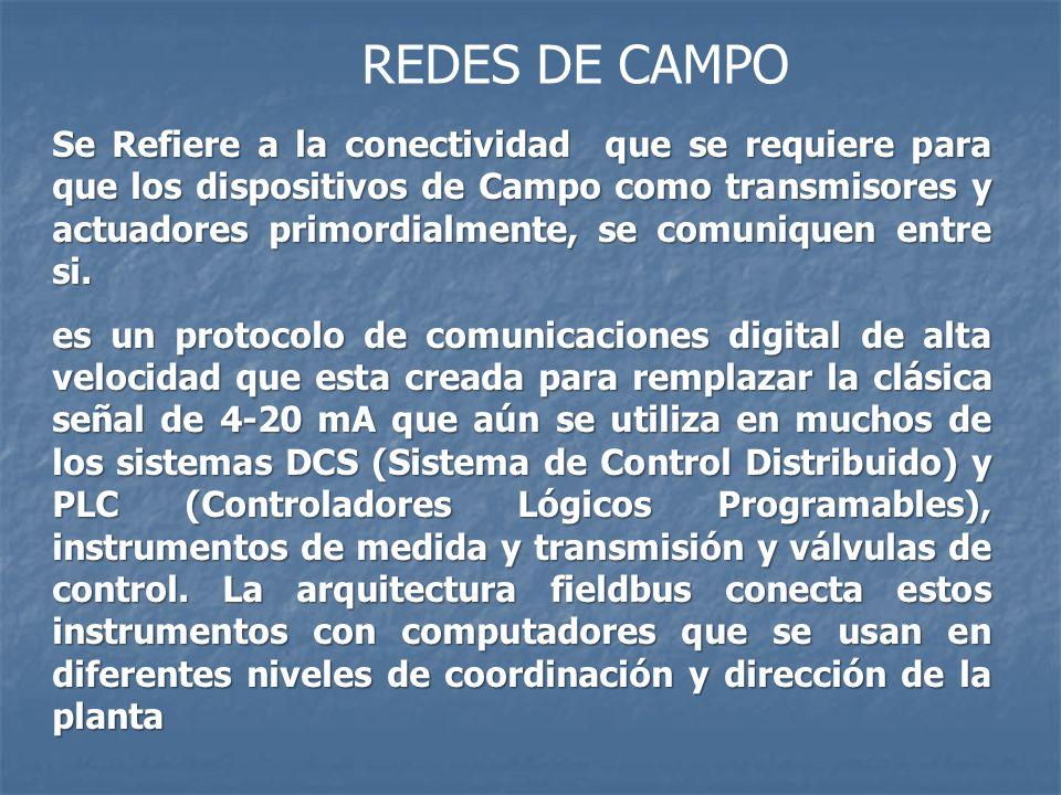 REDES DE CAMPO Se Refiere a la conectividad que se requiere para que los dispositivos de Campo como transmisores y actuadores primordialmente, se comu