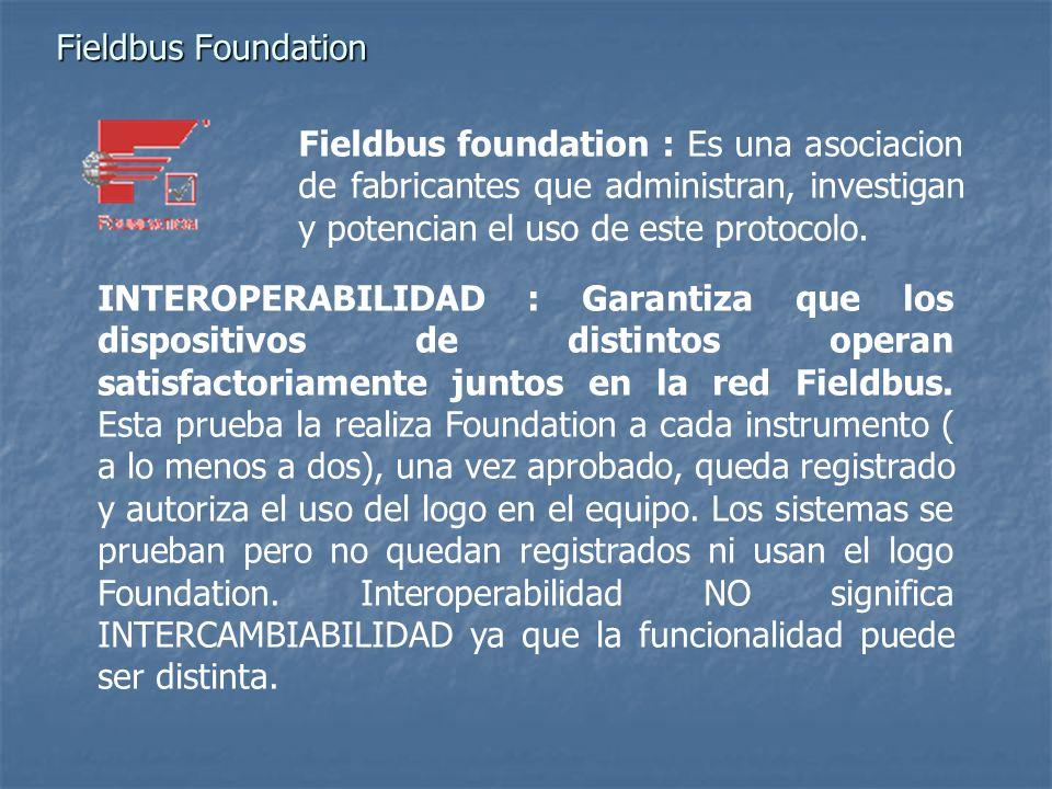 Fieldbus Foundation Fieldbus foundation : Es una asociacion de fabricantes que administran, investigan y potencian el uso de este protocolo. INTEROPER