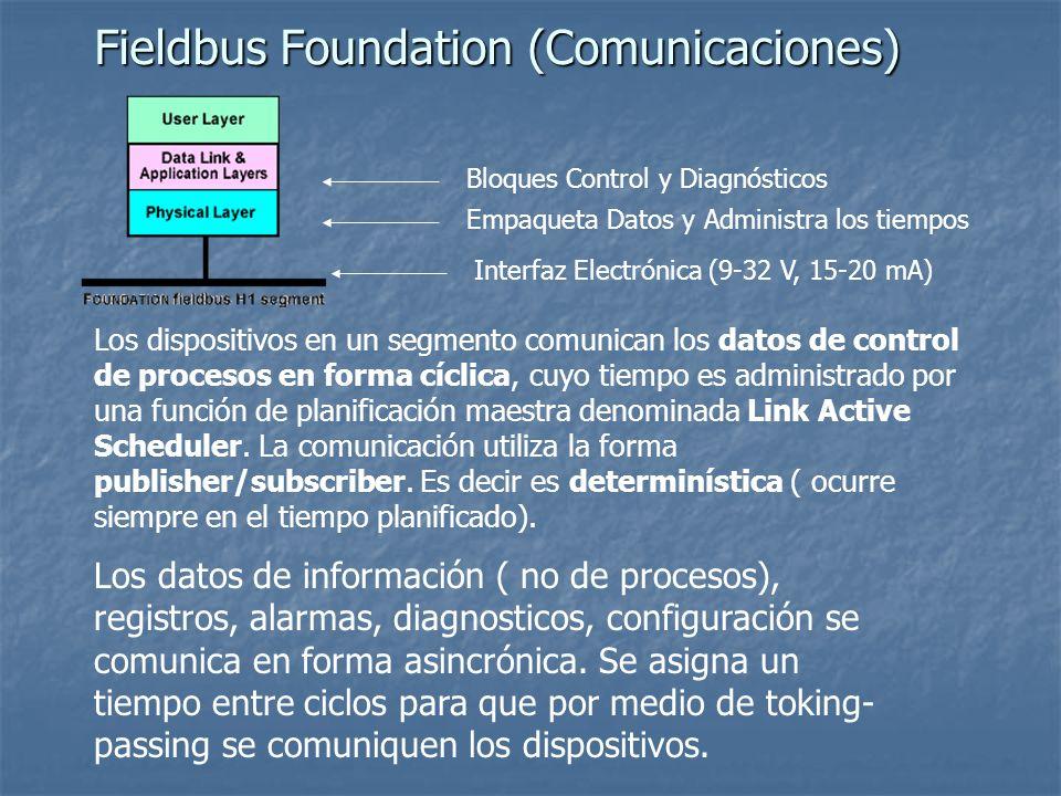 Fieldbus Foundation (Comunicaciones) Bloques Control y Diagnósticos Interfaz Electrónica (9-32 V, 15-20 mA) Empaqueta Datos y Administra los tiempos L