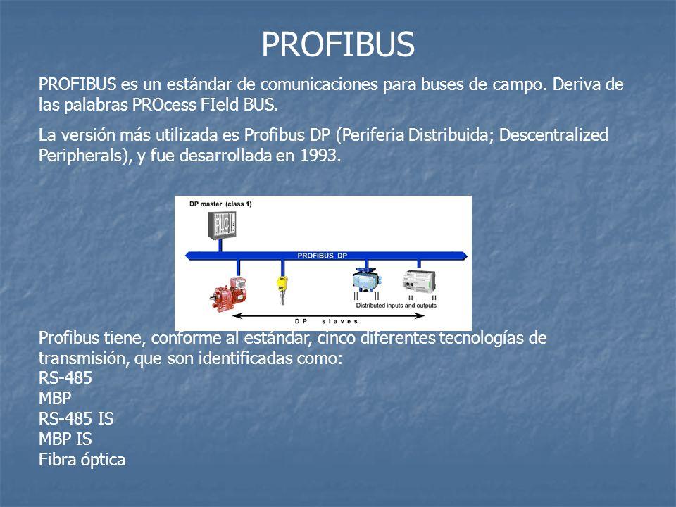 PROFIBUS PROFIBUS es un estándar de comunicaciones para buses de campo. Deriva de las palabras PROcess FIeld BUS. La versión más utilizada es Profibus