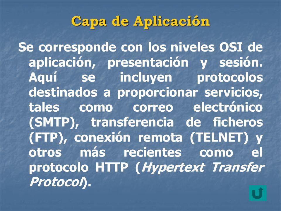 Se corresponde con los niveles OSI de aplicación, presentación y sesión. Aquí se incluyen protocolos destinados a proporcionar servicios, tales como c