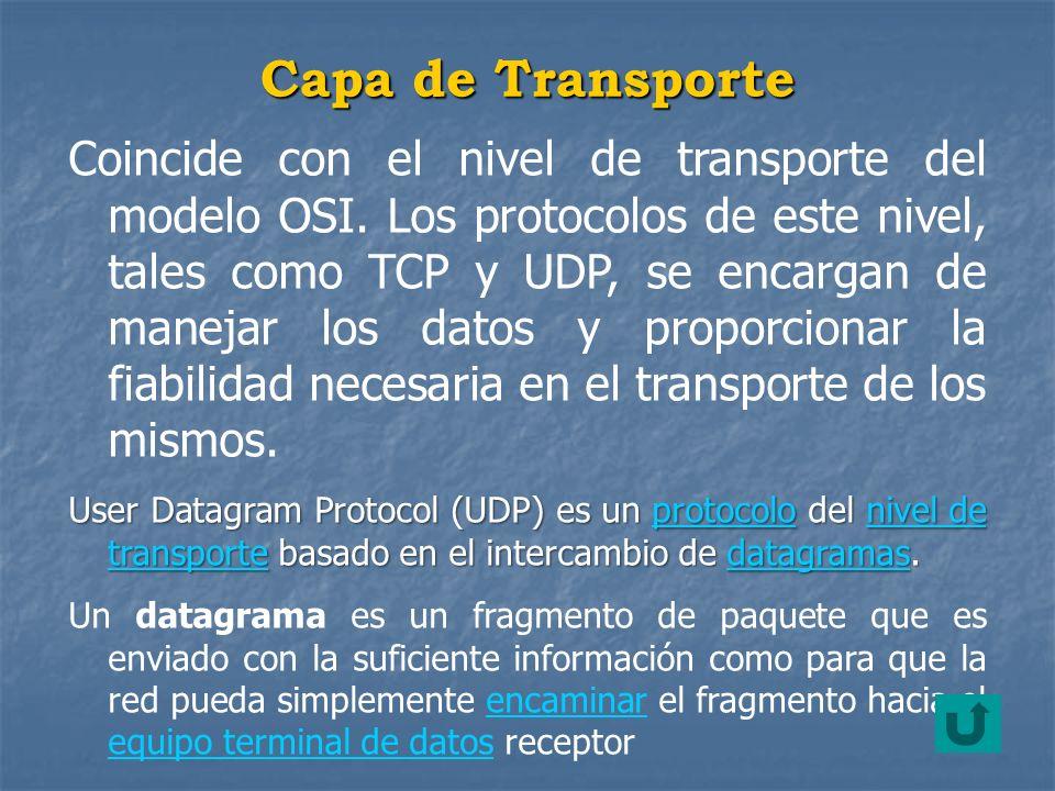 Coincide con el nivel de transporte del modelo OSI. Los protocolos de este nivel, tales como TCP y UDP, se encargan de manejar los datos y proporciona