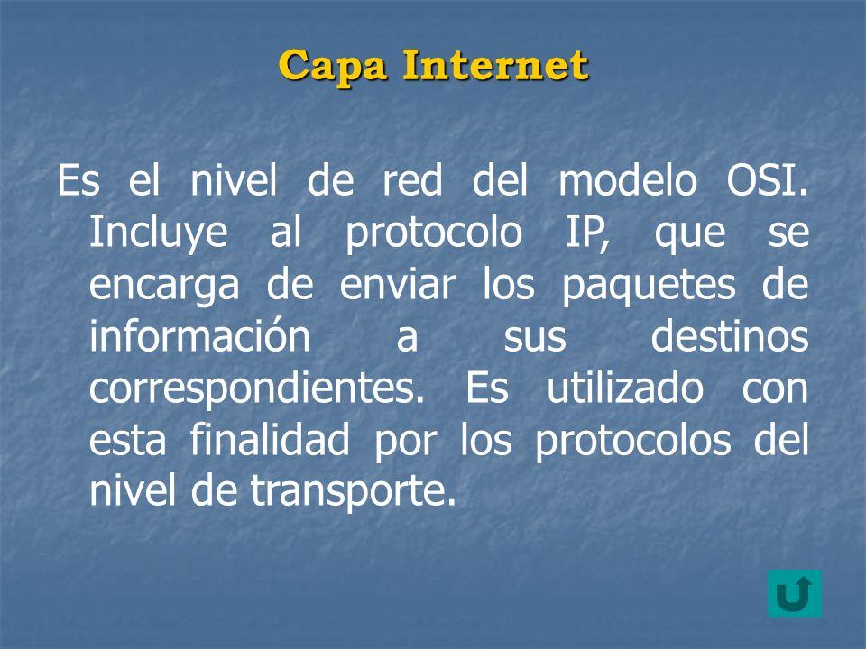 Es el nivel de red del modelo OSI. Incluye al protocolo IP, que se encarga de enviar los paquetes de información a sus destinos correspondientes. Es u