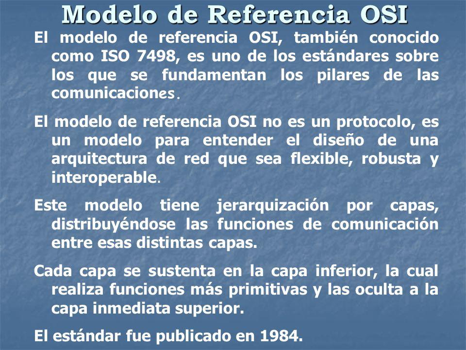 Modelo de Referencia OSI El modelo de referencia OSI, también conocido como ISO 7498, es uno de los estándares sobre los que se fundamentan los pilare