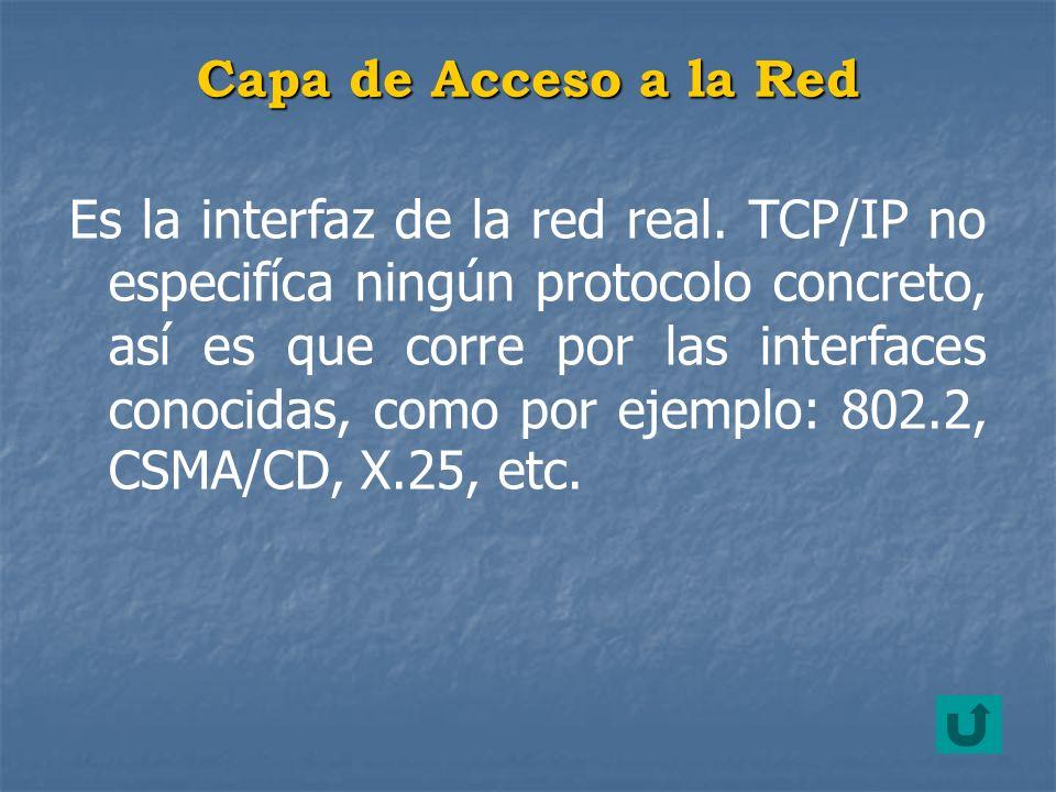 Es la interfaz de la red real. TCP/IP no especifíca ningún protocolo concreto, así es que corre por las interfaces conocidas, como por ejemplo: 802.2,
